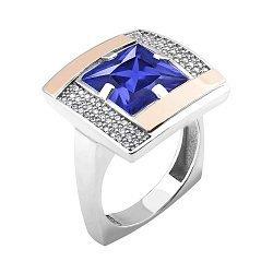 Серебряное кольцо с золотыми накладками, синим альпинитом и белыми фианитами 000114262