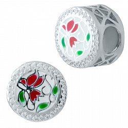 Серебряный шарм Тюльпаны с эмалью и фианитами