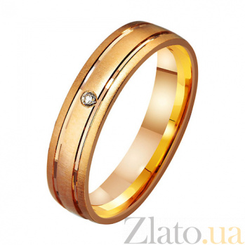 Золотое обручальное кольцо Счастливый путь с фианитом TRF--412226
