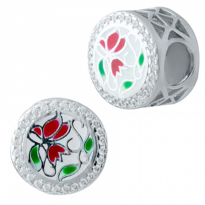 Серебряный шарм Тюльпаны с эмалью и фианитами 000078317