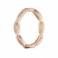 Обручальное кольцо из розового золота с бриллиантами Золотое сечение