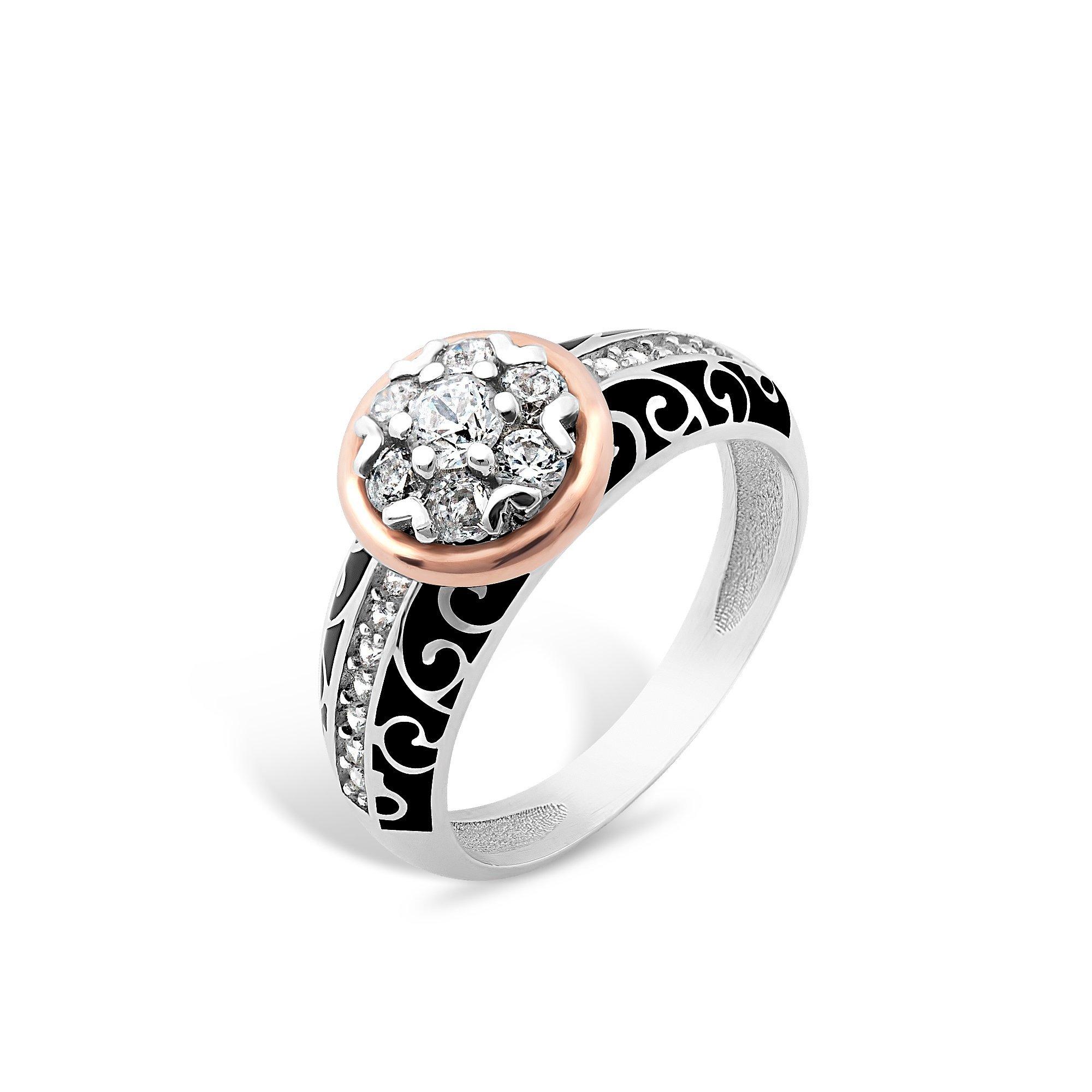 Серебряное кольцо Гортензия с золотой накладками, фианитами и черной эмалью
