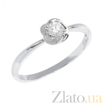 Кольцо в белом золоте Цветок с фианитом 000023162