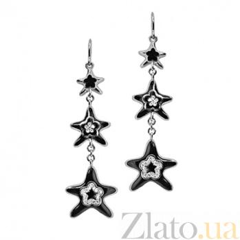 Золотые серьги с бриллиантами и эмалью Рождение звезд 000029560