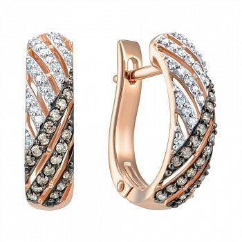 Серьги из красного золота с бриллиантами 000150222