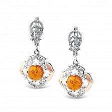 Серебряные серьги-подвески Арлетта с золотыми накладками, янтарем и фианитами