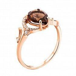 Кольцо в красном золоте с раухтопазом и фианитами 000122209