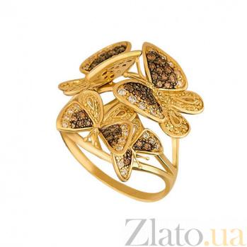 Кольцо из желтого золота Весенние бабочки с фианитами VLT--ТТ1131