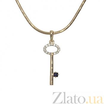 Золотой подвес с сапфиром и бриллиантами Золотой ключик ZMX--PS-6715_K