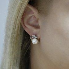 Серебряные серьги Валерия с белым жемчугом и фианитами
