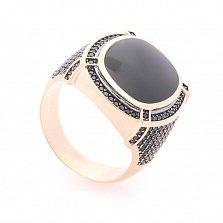 Перстень-печатка из красного золота Будапешт с черным ониксом и черными фианитами