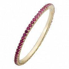 Золотое кольцо в жёлтом цвете с рубинами Жовтень