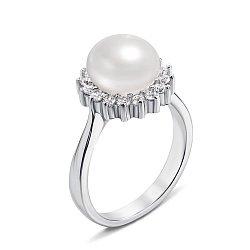 Серебряное кольцо с жемчужиной и фианитами 000131860