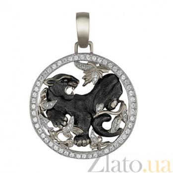 Золотой кулон Пантера Багира в белом и черном цвете с фианитами VLT--Т377