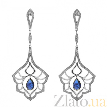 Золотые серьги с бриллиантами и танзанитами Loveliness ZMX--EDTz-00125w