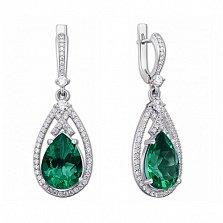 Серебряные серьги-подвески Мерилин с зеленым кварцем и цирконием