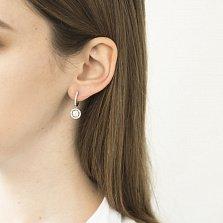 Серьги-подвески из белого золота Мелинда с бриллиантами