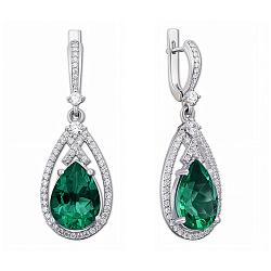 Серебряные серьги-подвески с зеленым кварцем и цирконием 000012642