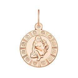 Золотой кулон Знак Зодиака Дева в красном цвете 000119548