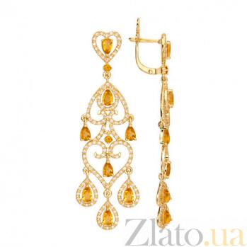 Удлиненные серьги из желтого золота с желтым цирконием Паулина VLT--ТТТ2410