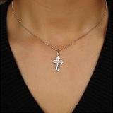 Родированный серебряный крестик Благодать