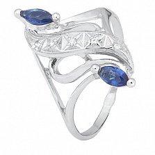 Серебряное кольцо с синими фианитами Альфия