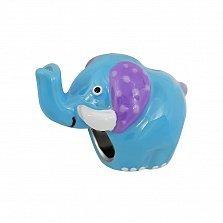 Серебряный шарм Слоник с синей, фиолетовой и белой эмалью