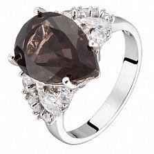 Серебряное кольцо Ольга с дымчатым кварцем и фианитами