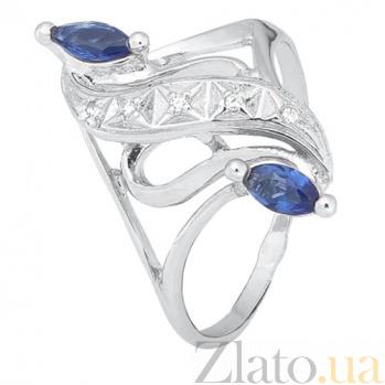 Серебряное кольцо с синими фианитами Альфия 000028156
