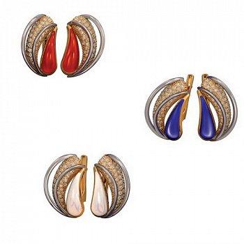 Серьги в красном золоте Юмжана с красной, синей или белой эмалью и фианитами 000059876