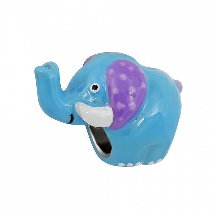 Серебряный шарм Слоник с синей, фиолетовой и белой эмалью 000081701