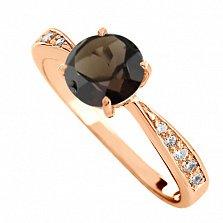 Золотое кольцо с раухтопазом и фианитами Беатриса