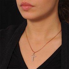 Крестик из красного золота Статус с бриллиантами