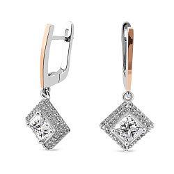 Серебряные серьги-подвески с фианитами и золотыми накладками 000149481