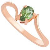 Золотое кольцо Розетта с зеленым аметистом