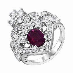 Кольцо-корона из белого золота с рубином и бриллиантами 000136766
