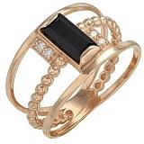 Золотое кольцо Кора с агатом и фианитами