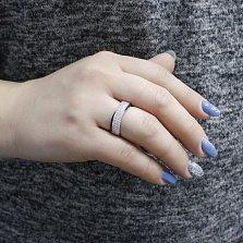 Серебряное кольцо Елена с черными и белыми фианитами
