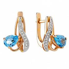 Серьги из красного золота с голубым топазом и бриллиантами Лори