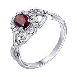 Серебряное кольцо с гранатом и цирконием 000010797