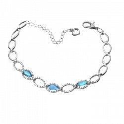 Серебряный браслет с голубым кварцем и фианитами 000071185