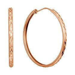 Серьги-кольца из красного золота с алмазной гранью, 40мм 000135659