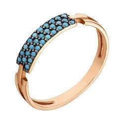 Золотое кольцо с имитацией бирюзы 000046629