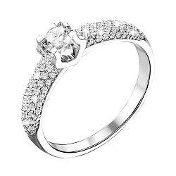 Золотое кольцо в белом цвете с бриллиантами 000117360