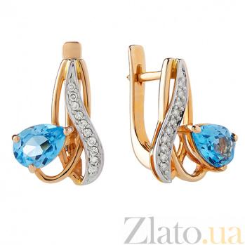 Серьги из красного золота с голубым топазом и бриллиантами Лори TRF--2421373н/топаз