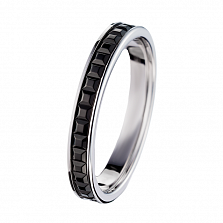 Обручальное кольцо Дорожка в белом золоте с PVD покрытием в стиле Бушерон