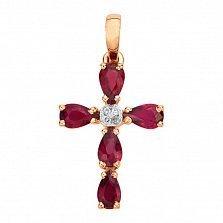 Золотой декоративный крестик Жемин в красном цвете с рубинами и фианитами
