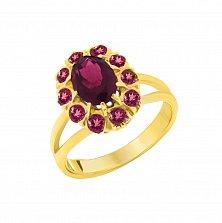 Золотое кольцо Малиновый закат с розовым турмалином и гранатами