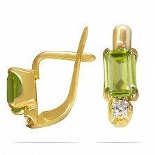 Серьги из желтого золота Паула с хризолитом и фианитами