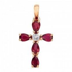 Декоративный крестик из красного золота с рубинами и фианитами 000103435